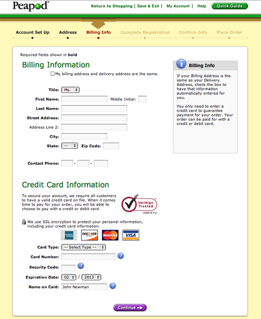 Peapod checkout process.