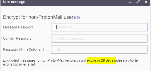 setting password in protonmail