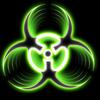 Biohazard green symbol logo