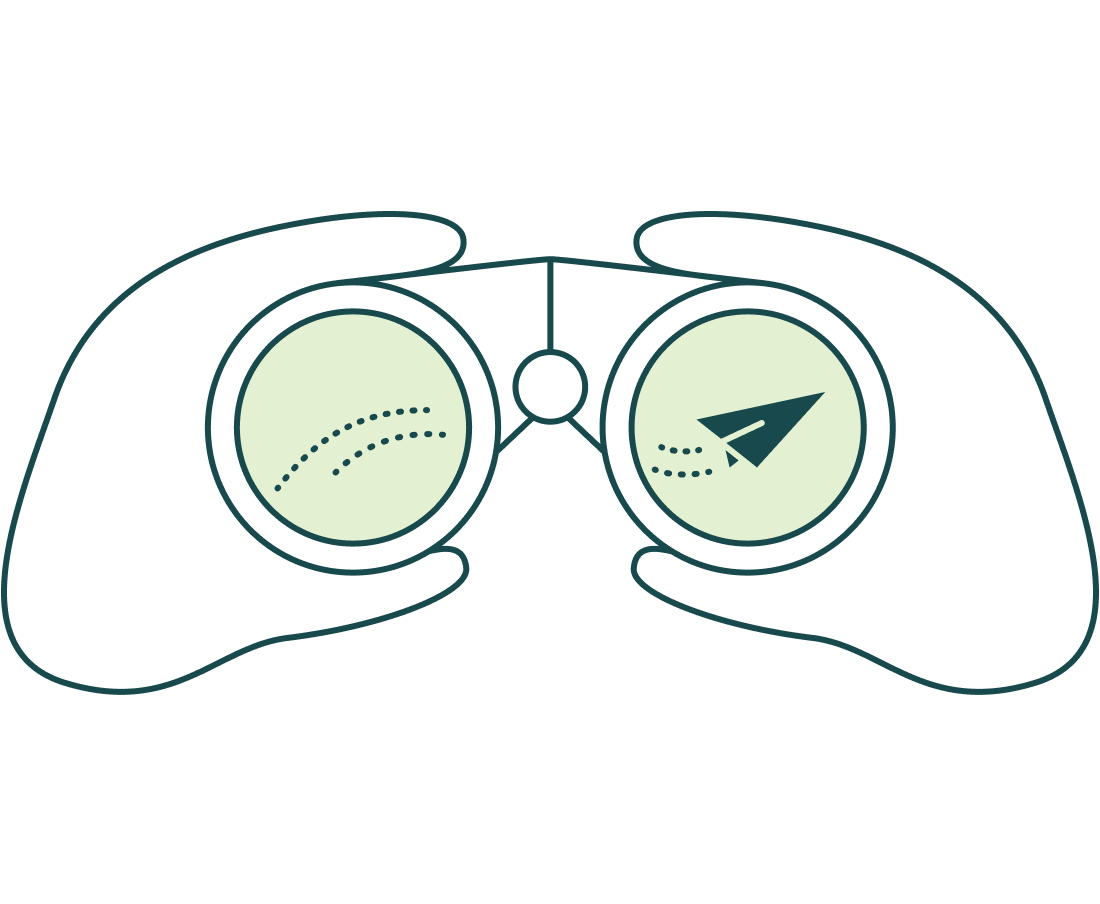 Illustration of someone looking through binoculars to see how far their email has reached.