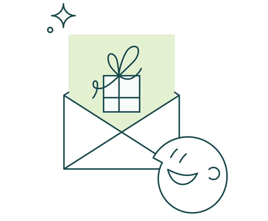 Illustration of someone receiving a reward by email