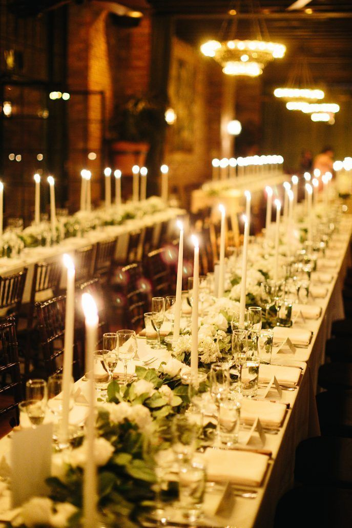 Courtney and Quinton Wedding - Tablescape Low Centerpiece - The Bowery Hotel - Chad Cruz Photography