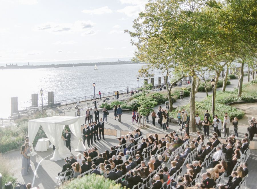 Jessica & Brian Wedding - Ceremony - Battery Gardens NYC - by Rebecca Yale