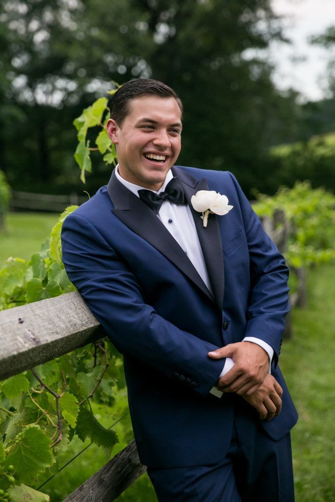 Lauren and Jordan Wedding - Groom with Peony Boutonniere - Blue Hill at Stone Barns NY - by Craig Paulson
