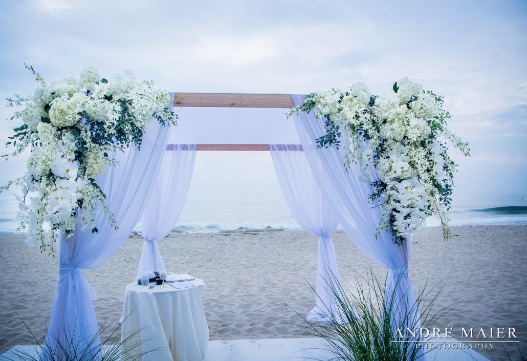 Lauren and Will Wedding - Beach Grass Aisle Parv Euc Ivy Hydrangea Dendrobium Phal Orchid Chuppah - Bridgehampton Surf and Tennis Club - by Andre Maier Photography