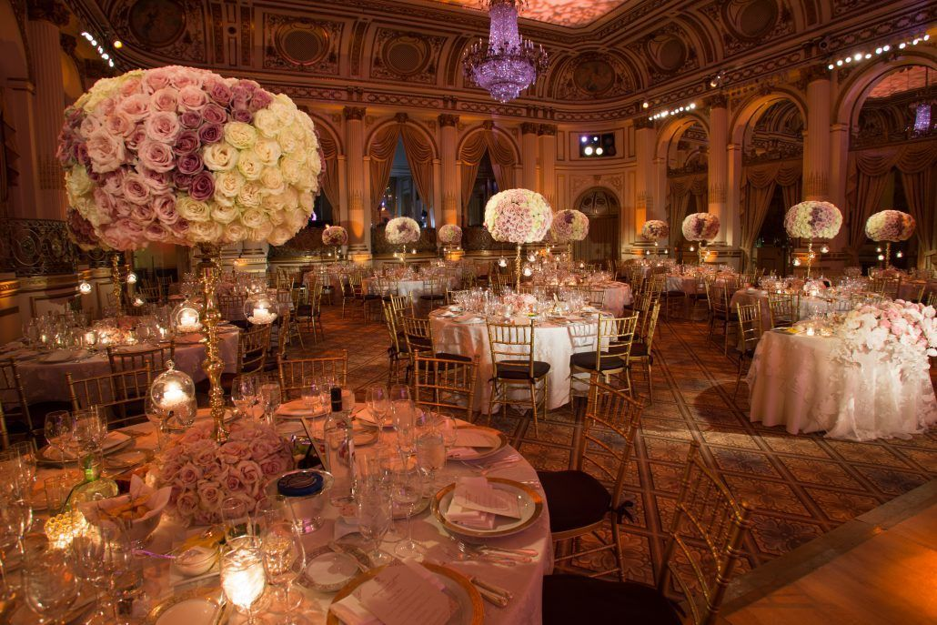 Marianna & Jason Wedding - Tall Centerpiece Rose - Plaza Hotel - by Fred Marcus Photography