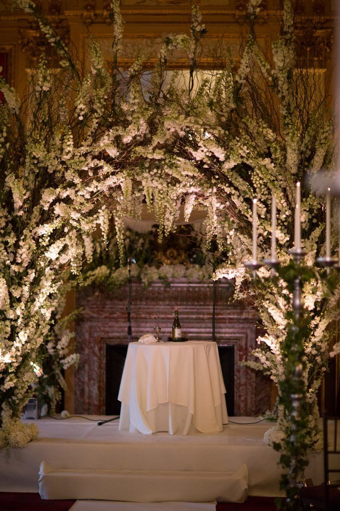 Raphaela & Neil Wedding - Chuppah Curly Willow Delphinium Dendrobium Orchid - Metropolitan Club - by Hechler Photographers