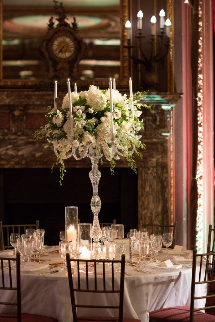 Raphaela & Neil Wedding - High Candelabra Centerpiece Eucalyptus Hydrangea Dendrobium Orchid Lemon Leaf Lisianthus Garden Rose Stock - Metropolitan Club - by Hechler Photographers