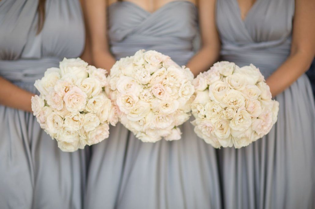 Sophia & Sam Wedding - Bridesmaids Bouquet Ranunculus Miyuki Majolica Rose - Tribeca 360 NYC - by Shira Weinberger