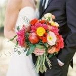 Bold poppy bouquet. Landon Jacob Photography.