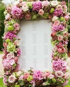 Floral-framed seating chart