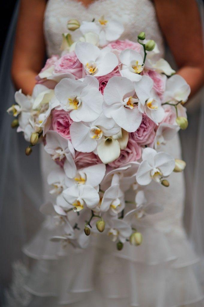 Cascading Orchid Bouquet / Stephanie & David / Blue Hill Stone Barns / Ira Lippke Studios