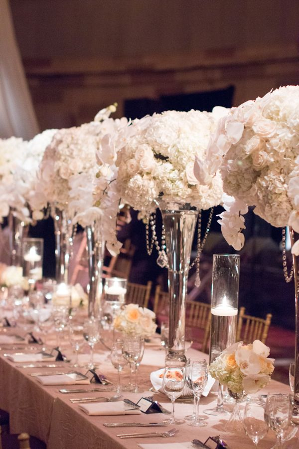 White wedding flowers at gotham hall by bride blossom