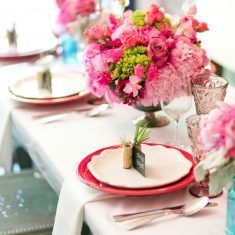 Pink Peony and Rose Low Centerpiece - Gran Electrica Brooklyn - Designs by Durga Kali - by Cassi Claire Photography (4)