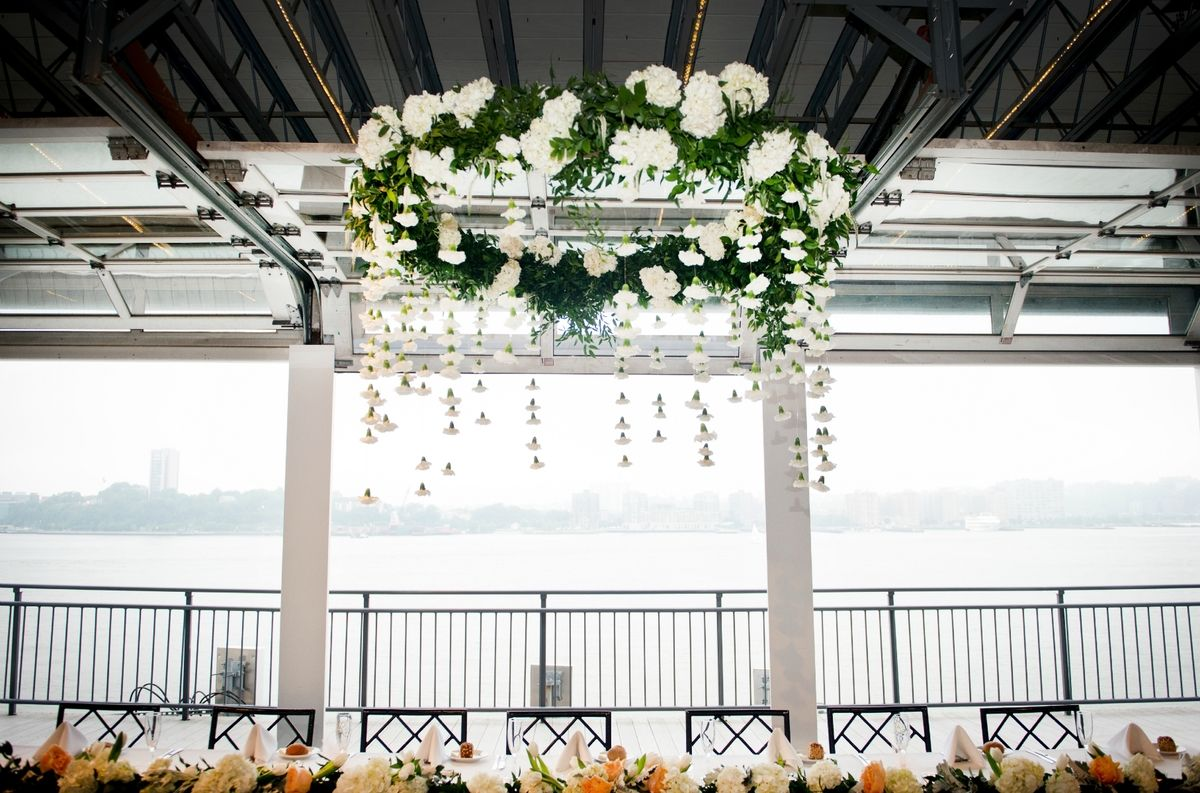 Floral chandelier for chelsea piers wedding by bride blossom floral chandelier at chelsea piers by andrea fischman arubaitofo Images