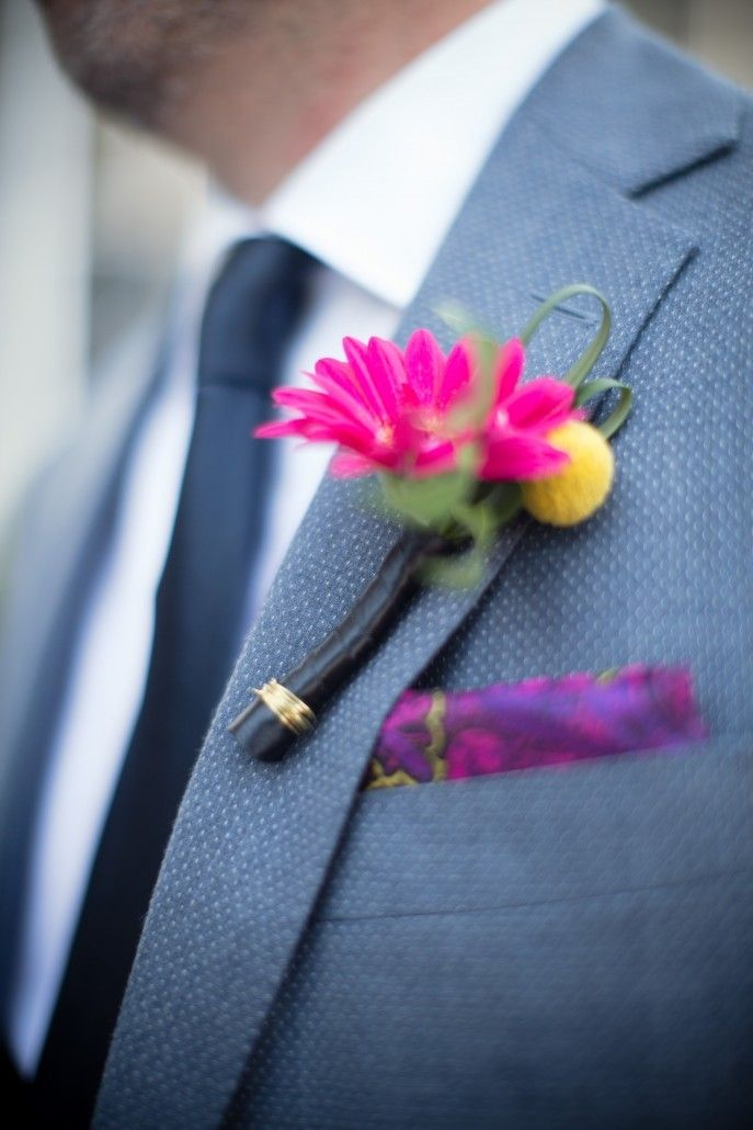 Brad and Manjil - Groom -Boutonniere - Studio 450 - NYC Wedding - Weddings by Two