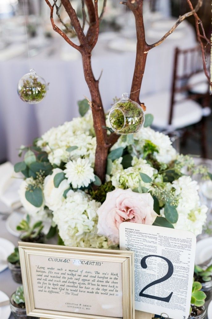 Christina & Damon - High Centerpiece - Book Themed Centerpiece - Windows on the Water - Stephen Govel Photography