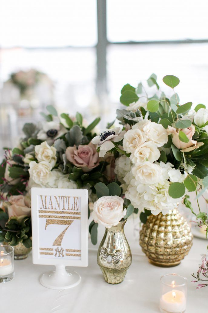 Kristen and Tom Wedding - Low Centerpiece - ivory and blush garden roses, greenery, hydrangea, gold mercury - Battery Gardens – Photo by Mekina Saylor