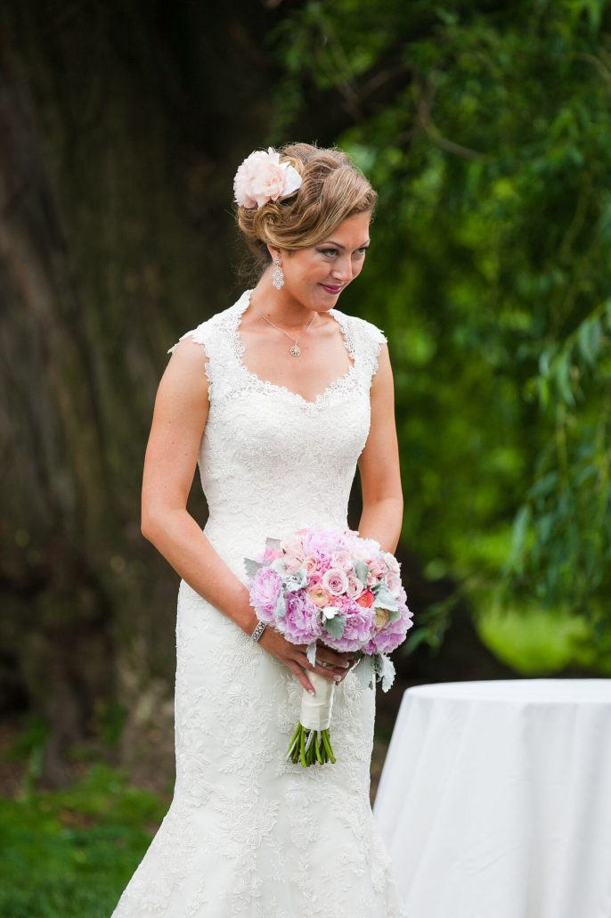 Tracy & Micheal / Bride Walking the Aisle / Purple and Pink Bouquet / Brooklyn Botanic Garden and Palm House / Emma McDonald Weddings