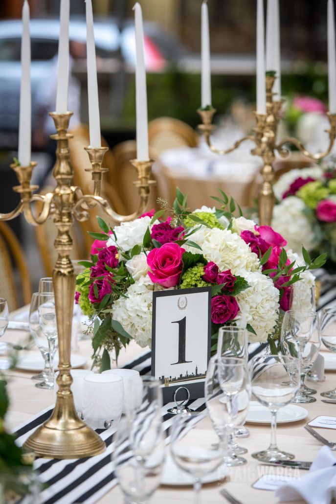 Shelby and Jonathan - Low Centerpieces - Gold Candelabras - Hydrangea Arrangements - Bryant Park Grill - Photography by Craig Warga Photography