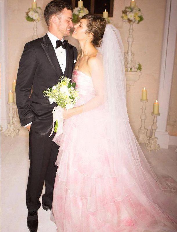 Jessica Biel / Pink Wedding Dress / via bustle.com