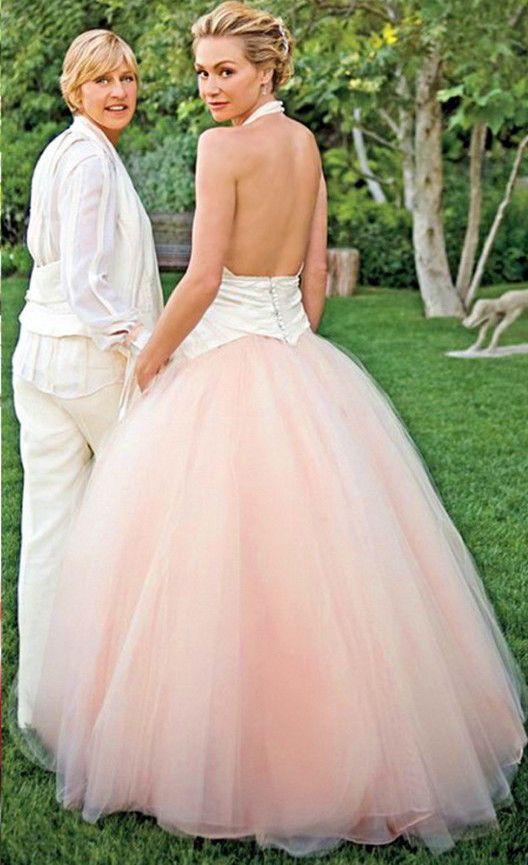 Portia De Rossi / Pink Wedding Dress / via lightinthebox.com
