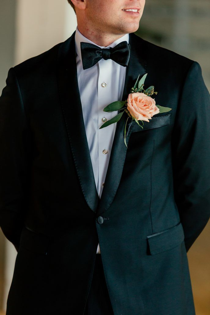 Andrea & John Wedding - Groom - Boutonniere - Liberty Warehouse Brooklyn - by Popography