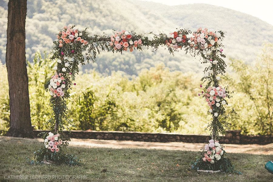 Floral Arch - Suneela and Vilas - NY Wedding - Monteverde at Oldstone - Photo by Catherine Leonard Photography