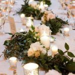 Suzy and Jerry - Long Table Tablescape - Garland - Mercury Votives - Bourne Mansion - Photo by Ryon Lockhart
