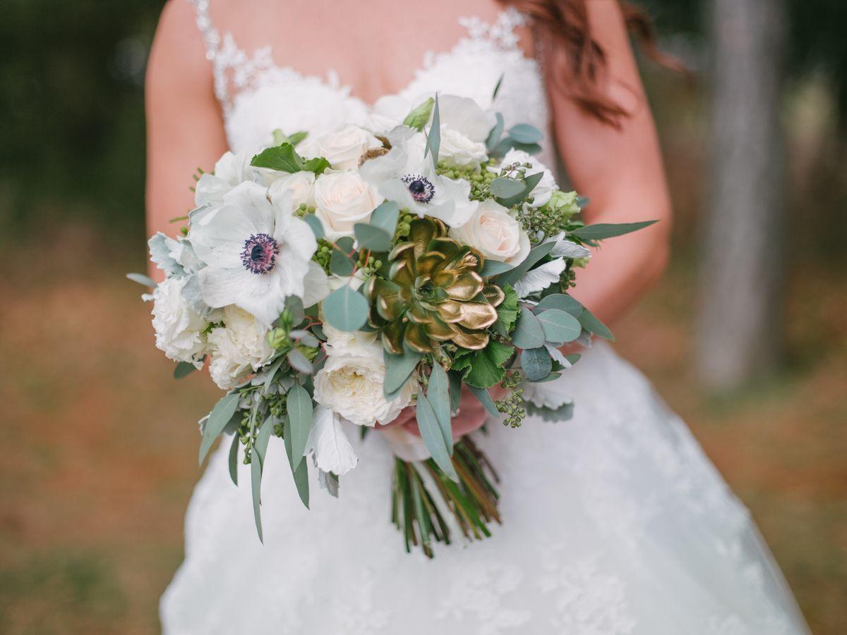 Succulent Bridal Bouquet Danielle Jared Ryland Inn Paul Francis Photography