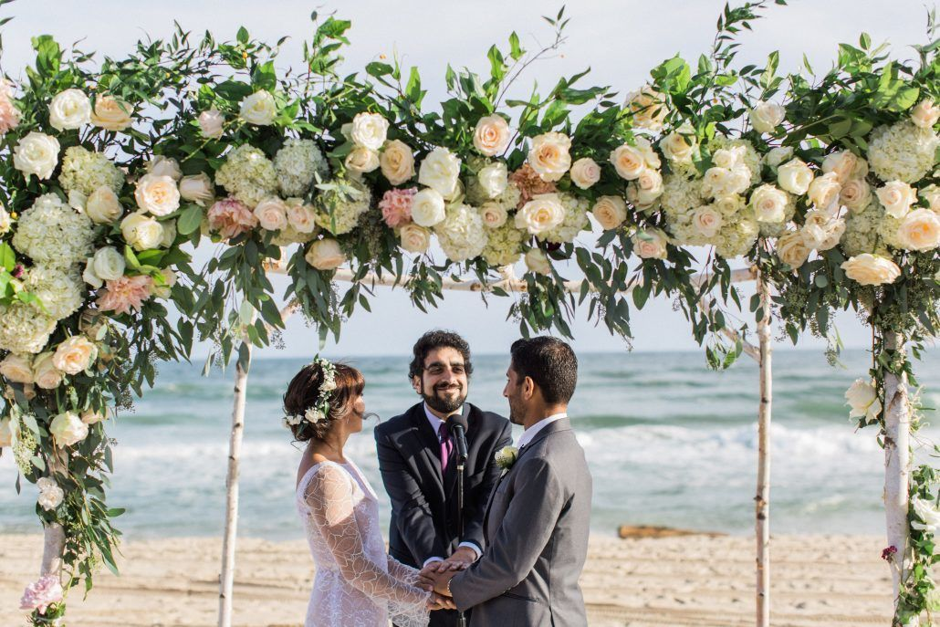 Shelley and Safa - Floral Arch - Ceremony - Gurneys Montauk Resort - Flora and Fauna Photography