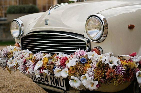 Italian Wedding Car Flowers via Whimsical Wonderland Weddings / Aynhoe Park / Alexa Loy Photography