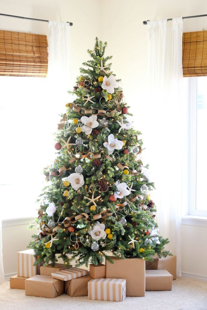 Blooming Christmas Tree with Flowers - by Delia Creates - via Elle Decor