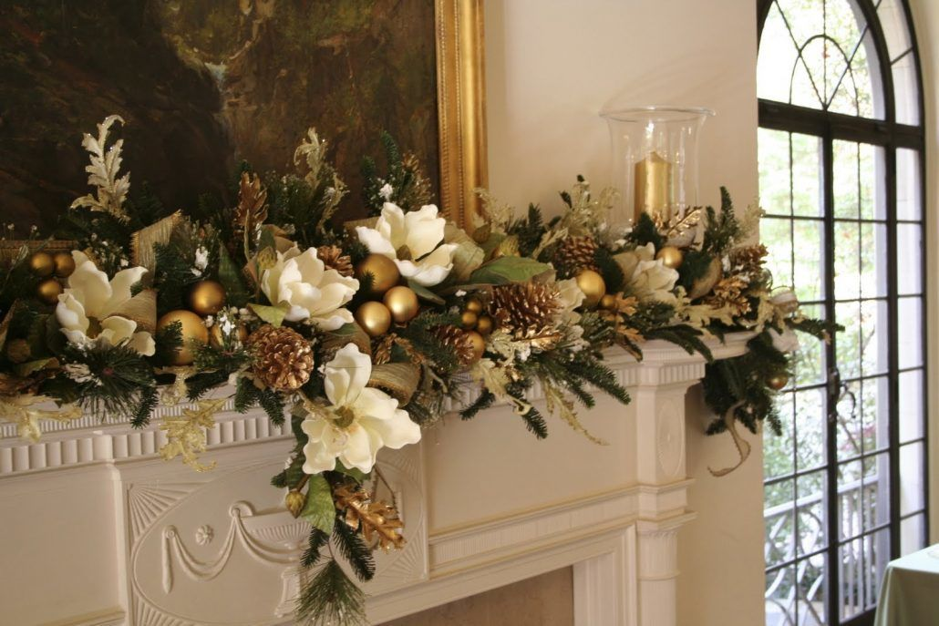 Fireplace Mantle with Garland - via Louis Guerra Design