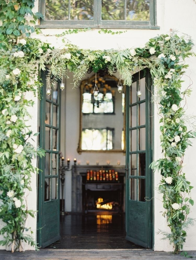 Greenery Garland Entryway - Doorway - by Erich McVey Photography - via ProjectWedding