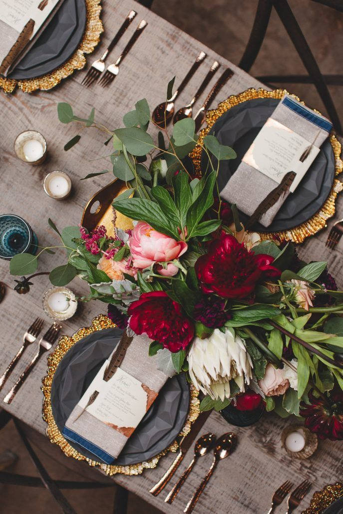 Holiday Tablescape with Florals - by Lila Wilson Weddings - via Domino