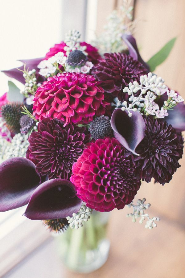 Purple Dahlia Bouquet Via Deer Pearl Flowers