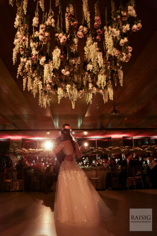 Jenna & Matthew Wedding - Floral Chandelier - Museum of Jewish Heritage - Cody Raisig Photography