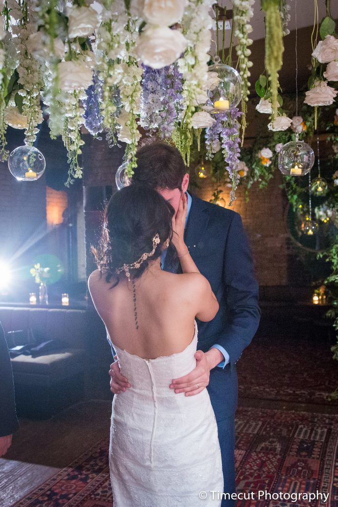 Kay & Bryan Wedding - Floral Chandelier - Acme Restaurant NYC - Timecut Photography