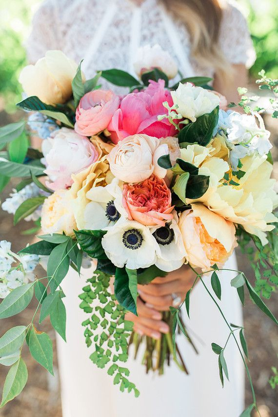 Summer Bridal Bouquet - by Unique Floral Designs - photo by Jenny Quicksail Photography - via 100 Layer Cake
