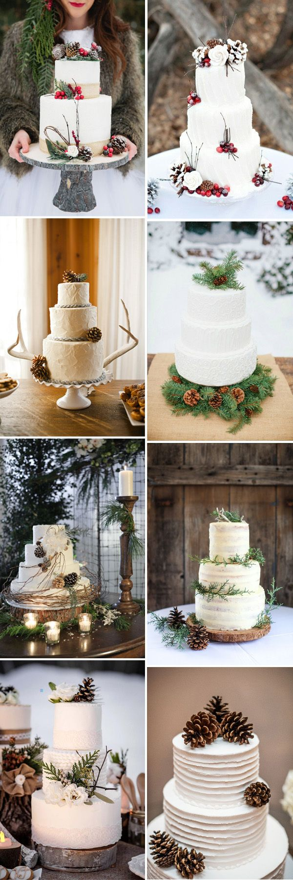 White Winter Wedding Cakes - via EC Invites
