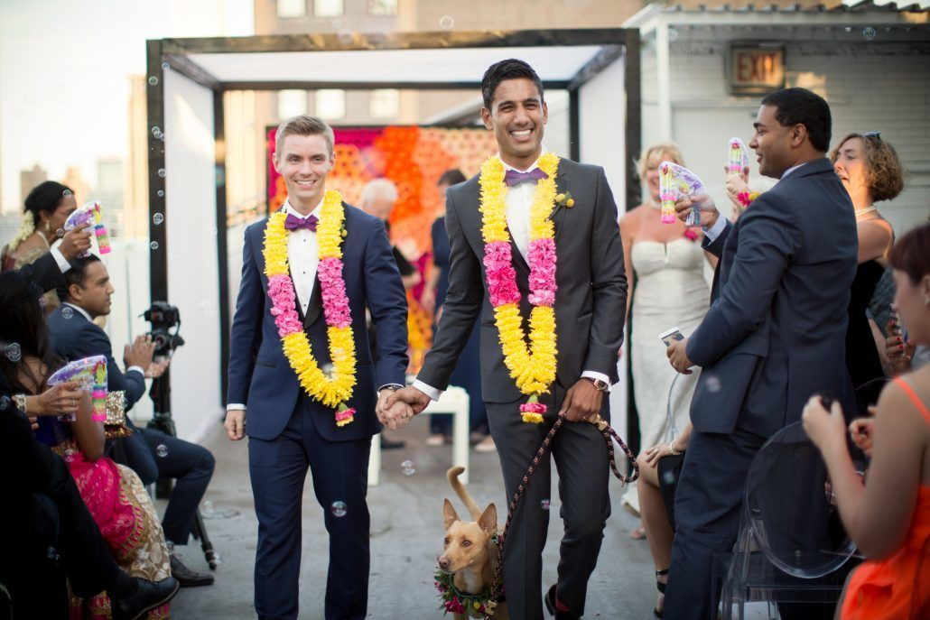 Bright Pop Flower Lays - Brad and Manjil - NYC Wedding - Studio 450 - by Weddings by Two