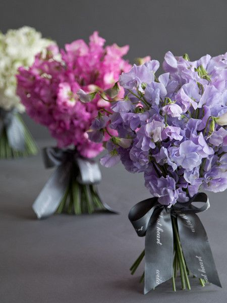 Colorful Sweet Pea Bouquet - Cream, Fuchsia, Lavender - via Pinterest