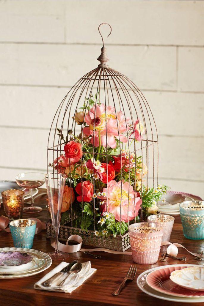 Colourful Floral Birdcage Centerpiece   Photo By Maven Bride   Via Table  Decorating Ideas.com