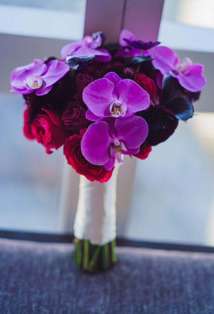 Joann & Michael Wedding - Bridal Bouquet - Orchid Ranunculus Rose Lily Anemone - Mandarin Oriental NYC - Photography by Ryan Brenizer