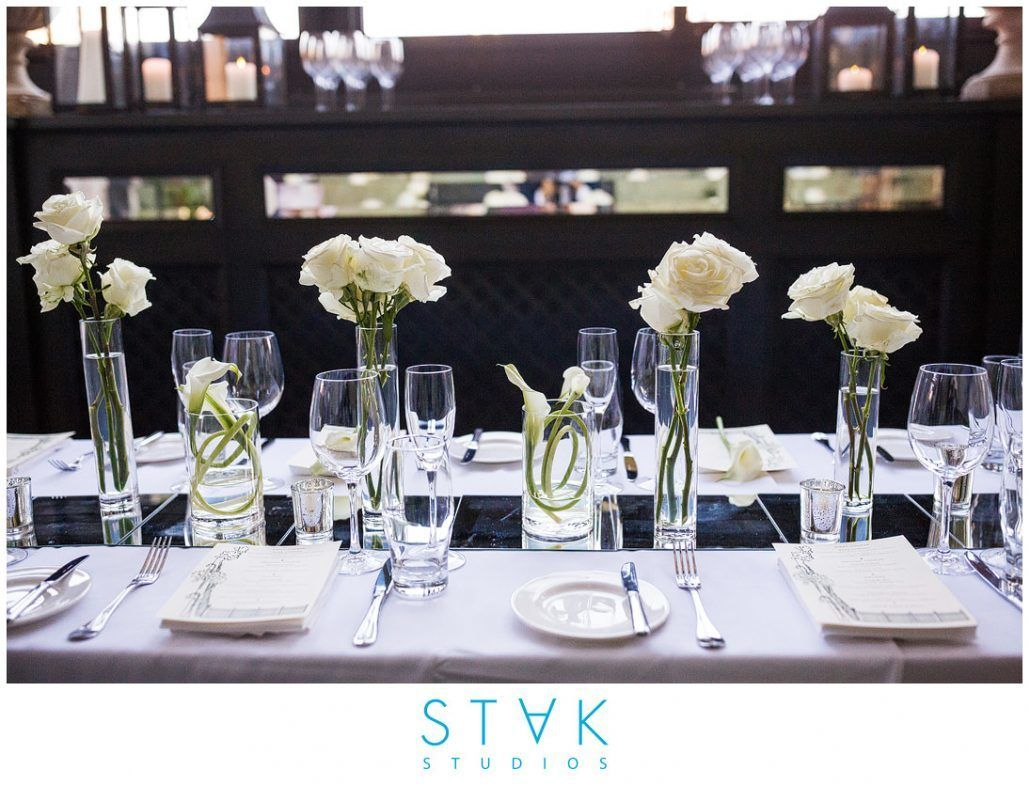 Mairin & Seo Wedding - Low Centerpiece - White Calla Lily Rose - Gramercy Park Hotel - Photography by Stak Studios
