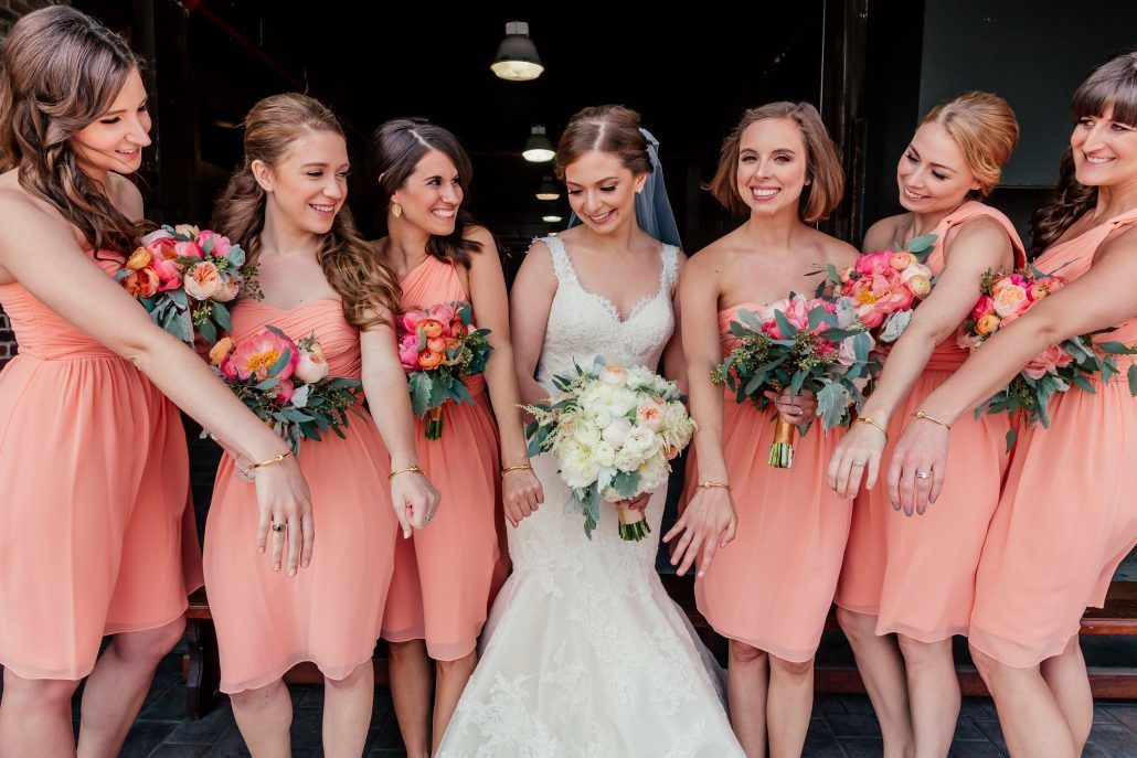 Peony Bridesmaids Bouquets - Andrea & John - Liberty Warehouse Brooklyn - by Popography