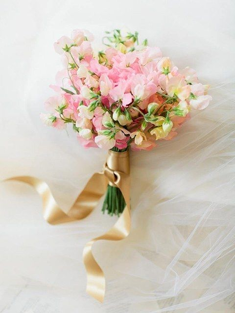 Pink Sweet Pea Bridal Bouquet - Photo by Erin Kate Photo - via Brides.com