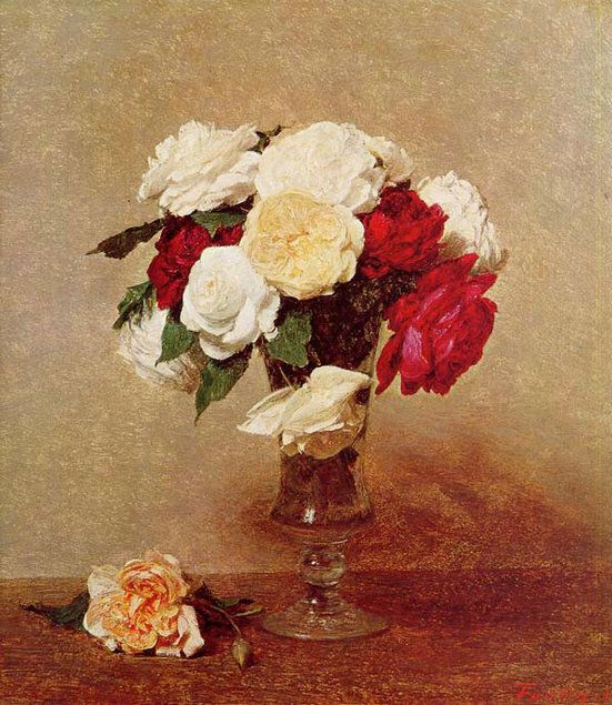 Roses in a Stemmed Glass, 1875 - Painting by Henri Fantin Latour