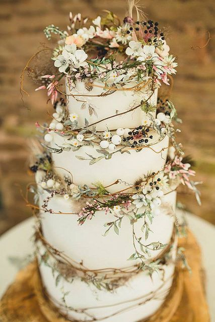 Flowers and frosting by bride blossom nycs only luxury rustic woodland wedding cake via i do yall junglespirit Image collections